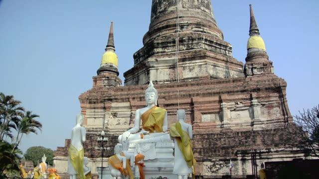 ms buddha statues at wat yai chai mongkhon temple / ayutthaya, thailand - male likeness stock videos & royalty-free footage
