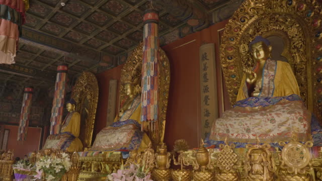 ws buddha statues inside of yonghe temple, beijing, china - lamasery stock videos and b-roll footage