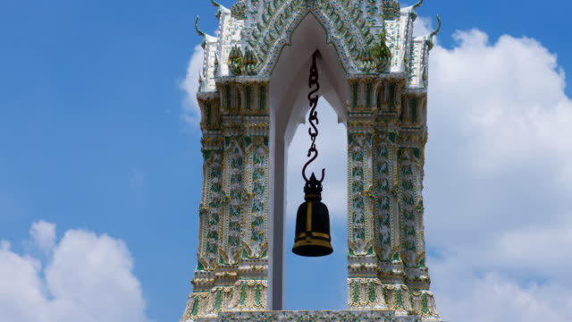 buddhist architecture wat pho in bangkok - bell stock videos & royalty-free footage