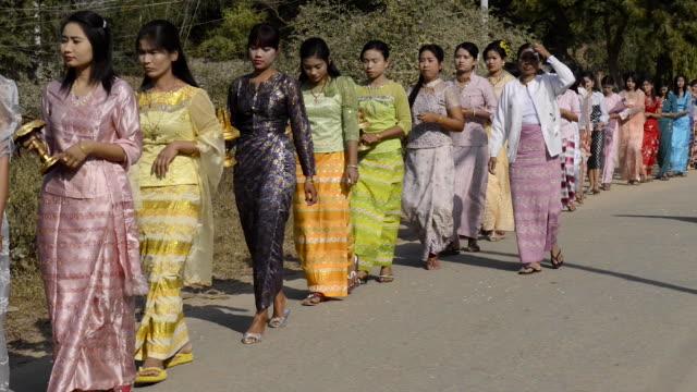 buddhist initiation ceremony, bagan, myanmar - bagan stock videos & royalty-free footage