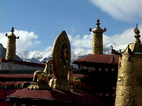 CU, ZO, MS, Buddhist monastery in mountain landscape, Lhasa, Tibet, China
