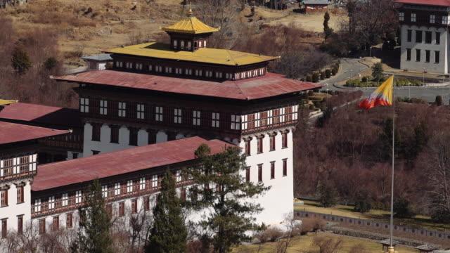 cu buddhist monastery tashichho dzong in thimphu, bhutan, asia - thimphu stock videos & royalty-free footage