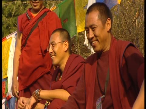 buddhist monks laugh together - traditionally tibetan stock videos & royalty-free footage