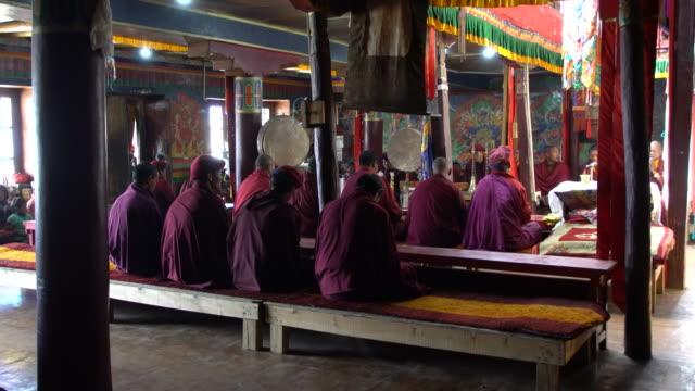 vídeos y material grabado en eventos de stock de buddhist monks praying during the morning temple service at korzok monastery, ladakh, india - ceremonia