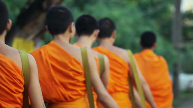 MS Buddhist monks walking in row / Luang Phabang, Laos