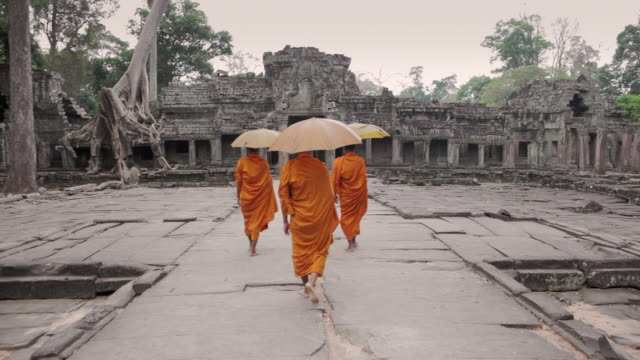 ws buddhist monks with parasols walk through the courtyard of an ancient temple in angkor wat / siem reap, cambodia - sonnenschirm stock-videos und b-roll-filmmaterial