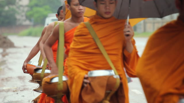 ms buddhist monks with umbrellas in street / luang phabang, laos - 僧点の映像素材/bロール