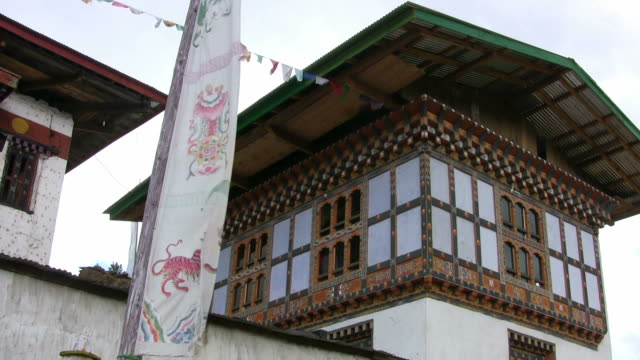 Buddhist Prayer Flags at Bhutan Monastery
