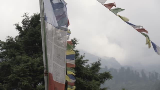 buddhist prayer flags in nepal - khumbu stock videos and b-roll footage