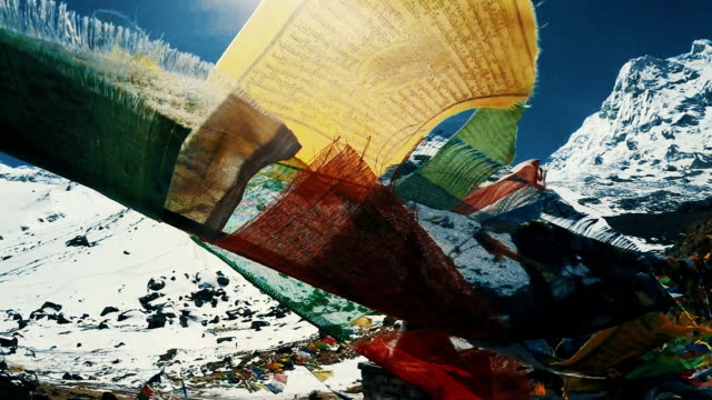 buddhist prayers on himalayan peaks - base camp stock videos and b-roll footage