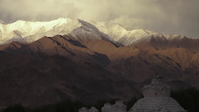 Buddhist shrine, below Indian Himalayan ranges.