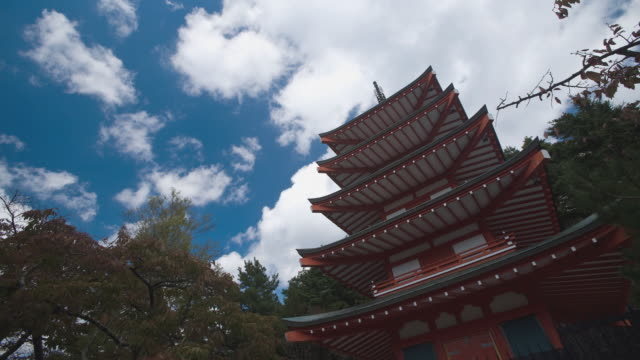 ws t/l buddhist shrine pagoda against blue sky /  shizuoka / japan - pagoda stock videos & royalty-free footage