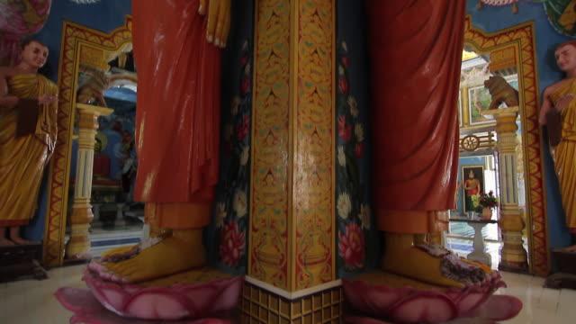 ms tu buddhist statues inside sri pushparama temple / balapitiya, southern province, sri lanka - sri lankan culture stock videos & royalty-free footage