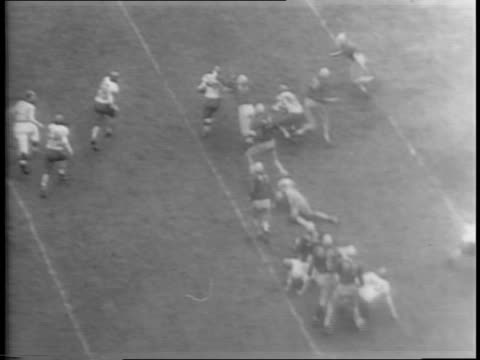 vídeos de stock e filmes b-roll de buddy young back in game after injury / medium shot of illinois quarterback don greenwood scoring a touchdown from the twoyard line against ohio... - 1944