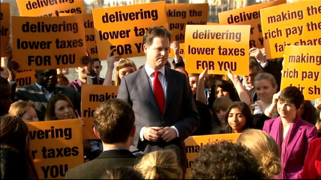 nick clegg speaks to liberal democrat supporters england london ext nick clegg mp addressing liberal democrat supporters sot today's budget day and... - 低い点の映像素材/bロール