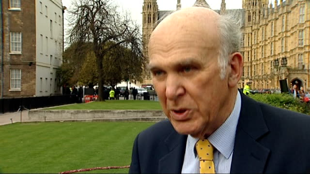 liberal democrats reaction; england: london: westminster: ext vince cable mp interview sot - recovery is welcome / talks of need for further... - vince cable stock videos & royalty-free footage