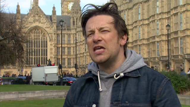 sugar tax; can being opened westminster: ext jamie oliver interview sot gavin partington interview sot - jamie oliver stock videos & royalty-free footage