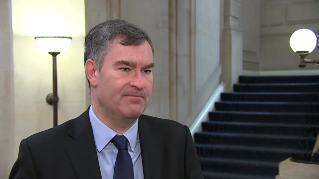 chancellor outlines spending plans in face of coronavirus threat; england: london: westminster: int david gauke interview sot whitehall: ext 'downing... - ben wallace stock videos & royalty-free footage