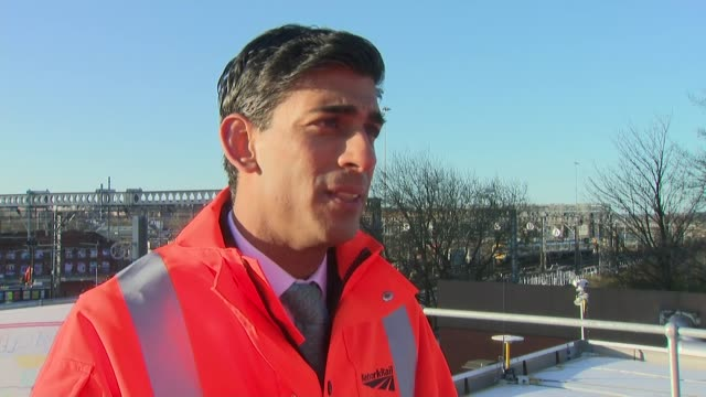 rishi sunak proposes budget boost for regions as he visits network rail site in leeds; england: west yorkshire: leeds: ext rishi sunak interview sot... - vitality stock videos & royalty-free footage