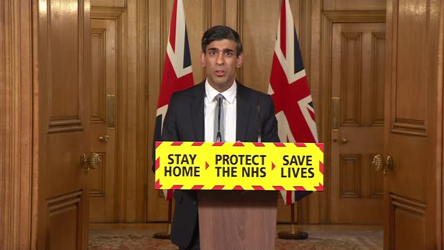 rishi sunak press conference; press conference part 1 of 10 england: london: westminster: 10 downing street: int rishi sunak mp along to podium /... - debt stock videos & royalty-free footage