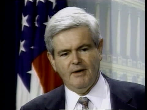 budget battle; pool int washington cms newt gingrich pkf sot - might have made progress on the budget if we had talked on the flight cms gingrich at... - no doubt band stock videos & royalty-free footage