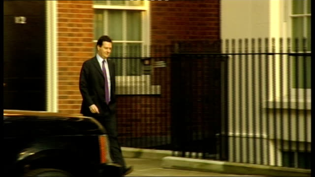chancellor george osborne arrives in downing street england london downing street ext chancellor of the exchequer george osborne mp along to number... - number 11 stock videos and b-roll footage