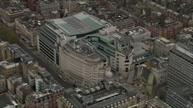 to go online; england: london: ext air view broadcasting house - bbc stock-videos und b-roll-filmmaterial