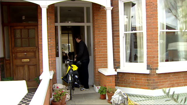 David Cameron prebudget comments ENGLAND London EXT David Cameron MP out of front door of house with bicycle David Cameron MP interview SOT Difficult...