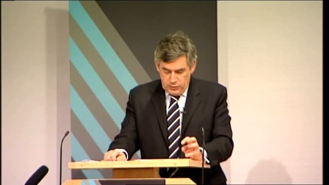gordon brown speech to royal society; gordon brown speech continued sot we are determined to be among the first governments in the world to open up... - recession stock videos & royalty-free footage