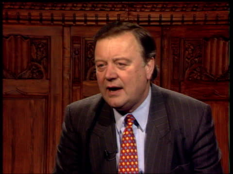 kenneth clarke mp interview sot gordon brown is trying to redistribute money from the middle classes to the less well off - chancellor stock videos & royalty-free footage