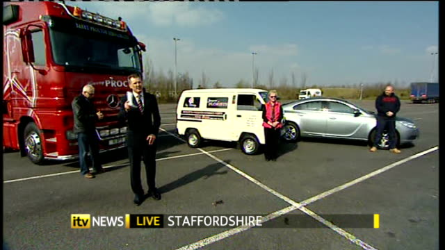 Newsreader to camera Staffordshire EXT Reporter Chris Choi vox pops with motorists Drew Owen Jay Kibble and Barry Proctor Newsreader to camera David...