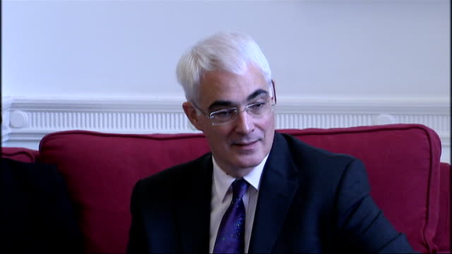 treasury team meet england london treasury int chancellor alistair darling mp posing for photocall with treasury ministers ian pearson mp stephen... - alistair darling stock videos & royalty-free footage