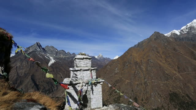 budhist stupa near tengboche village, exerest mountain range, sagarmatha national park, himalayan mountains, nepal - stupa stock videos & royalty-free footage