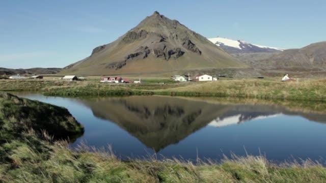 Budir village Iceland Snæfellsjokull Volcano lake reflections Snaefellsnes National Park