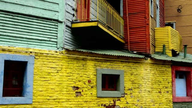 Buenos Aires Argentina La Boca colorful bright primary colors worn walls and windows