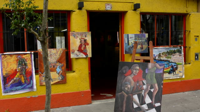 Buenos Aires Argentina La Boca colorful shop with paintings and artwork to sell