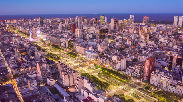 buenos aires, argentina microcentro, timelapse aerial shot - avenida 9 de julio stock videos & royalty-free footage