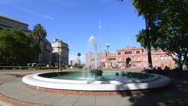 Buenos Aires Argentina Plaza de Mayo with Pink House Casa Rosada in square in city center with Argentine flag and fountain