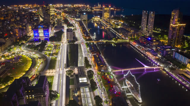 buenos aires, argentina puerto madero, timelapse aerial - puerto madero stock videos & royalty-free footage