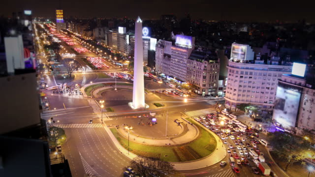 buenos aires, argentina - avenida 9 de julio video stock e b–roll