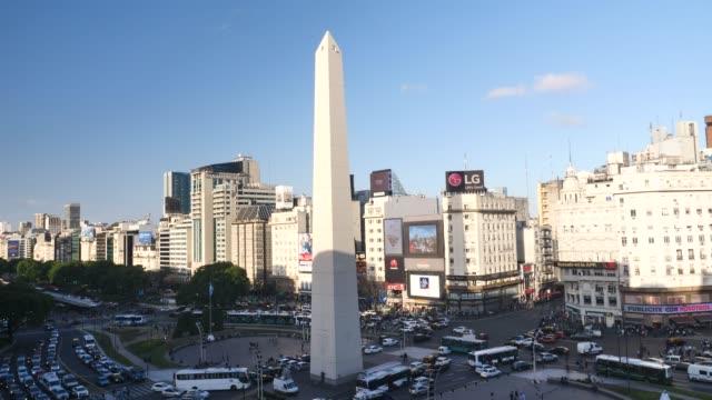 buenos aires obelisk plaza de la republica - plaza de la república buenos aires stock videos & royalty-free footage