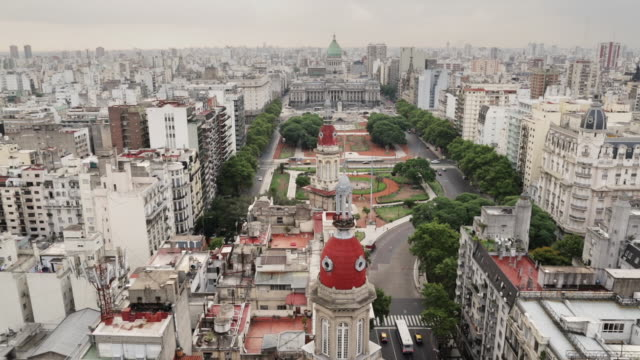 ms, ha buenos aires skyline view with palacio del congreso de la nacion / buenos aires, argentina - argentina stock videos & royalty-free footage