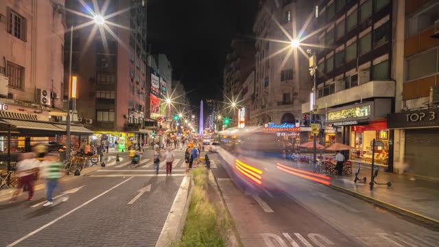 vidéos et rushes de buenos aires timelapse of obélisque la nuit, argentine - avenida 9 de julio