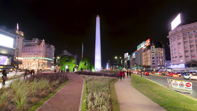 buenos aires timelapse of obelisk at night, argentina - avenida 9 de julio stock videos & royalty-free footage
