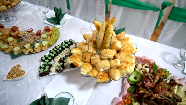 buffet reception finger food appetizer - appetizer stock videos & royalty-free footage