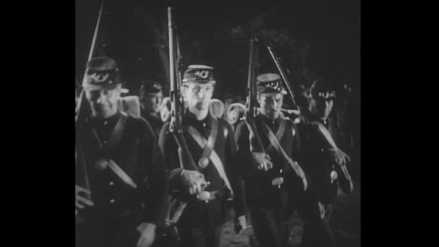 1861 a bugle sounds and soldiers fall into line - 金管楽器点の映像素材/bロール