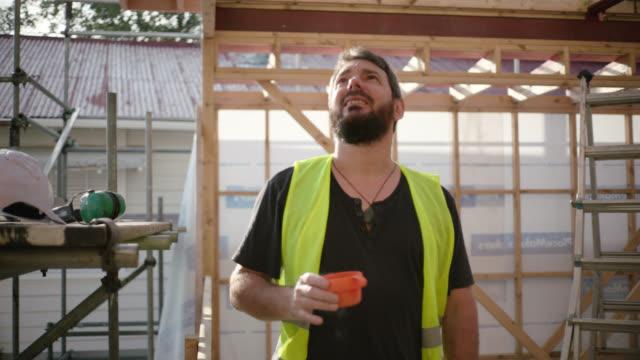 Builder takes coffee break