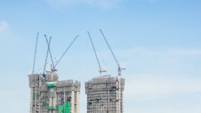 Building and construction site in the central of city , Time Lapse Movement