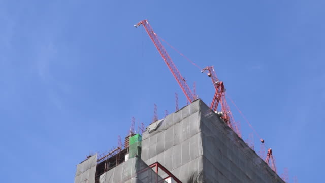 building area construction crane - hanging gallows stock videos & royalty-free footage