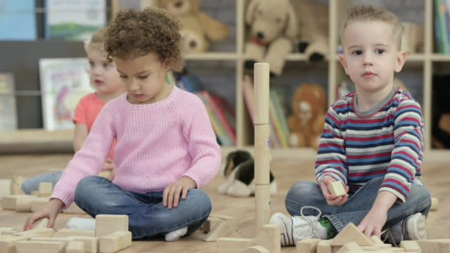 building block towers - preschool student stock videos and b-roll footage